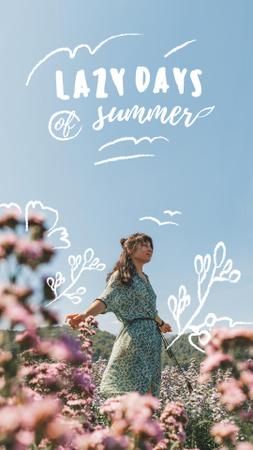 Designvorlage Summer Inspiration with Girl in Flower Field für Instagram Story