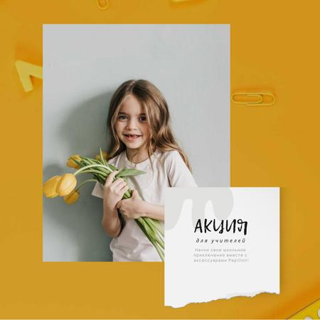 Back to School Offer with Girl with Tulips Bouquet Animated Post – шаблон для дизайна