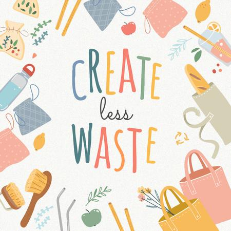 Zero Waste Concept with Sustainable Products illustration Instagram Tasarım Şablonu