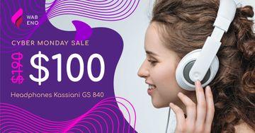 Cyber Monday Sale Woman in Headphones