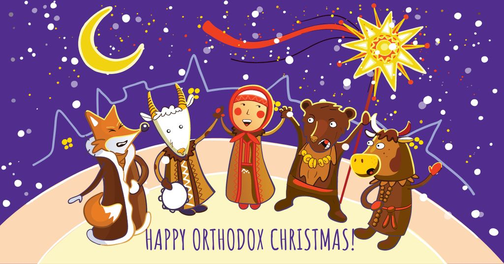Orthodox Christmas with Funny Characters — Créer un visuel