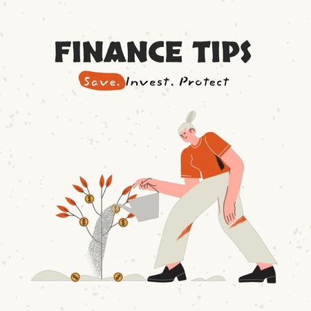 Ontwerpsjabloon van Animated Post van Woman planting Money Tree