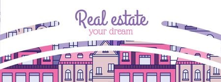 Template di design Real Estate Ad with Modern Buildings Facebook cover