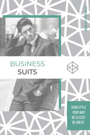 Ontwerpsjabloon van Pinterest van Business suits sale advertisement