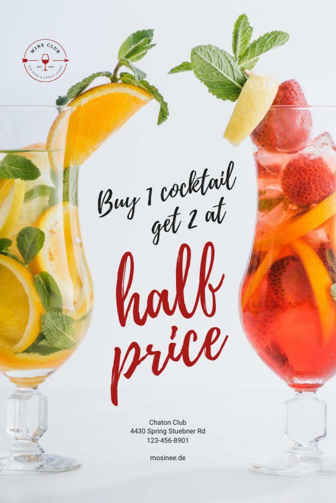 Szablon projektu Half Price Offer with Cocktails in Glasses Tumblr