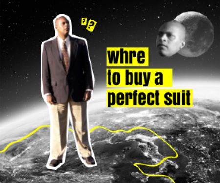 Funny Curious Man standing on Planet Medium Rectangle Modelo de Design