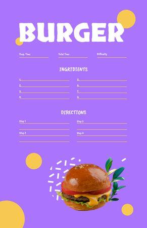 Modèle de visuel Tasty Burger Cooking Steps - Recipe Card