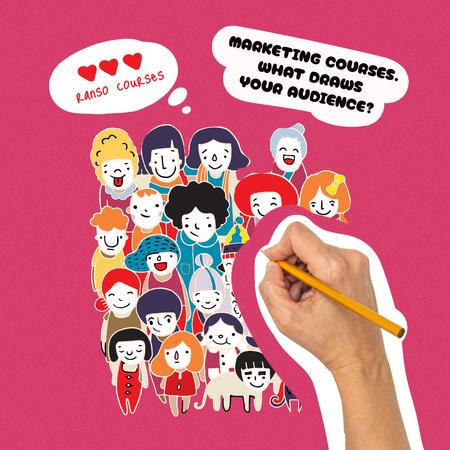 Marketing Courses Promotion with Audience Cute Illustration Instagram – шаблон для дизайна