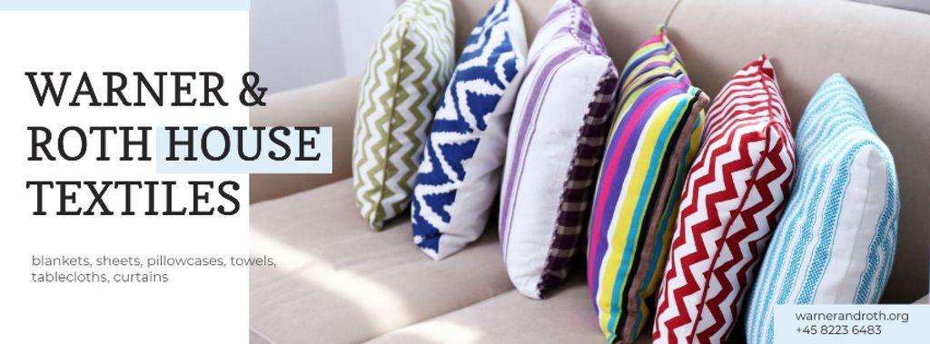 Home Textiles Ad with Pillows on Sofa — Modelo de projeto