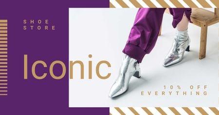 Designvorlage Shoe Store Offer with Stylish Female Boots für Facebook AD