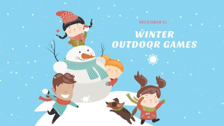 Children playing with Snowman FB event cover Modelo de Design