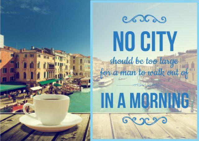 Cup of Coffee on City View Card – шаблон для дизайна