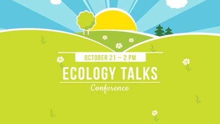 Eco Event Announcement with Bright Landscape Illustration FB event cover Design Template