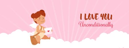 Ontwerpsjabloon van Facebook Video cover van Cupid girl with Valentine's Day letters