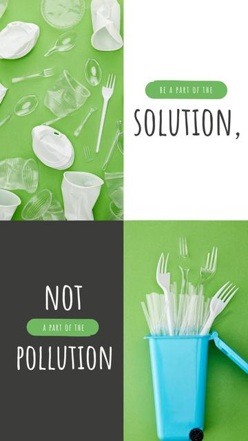 Ontwerpsjabloon van Instagram Story van Plastic Waste Concept with Disposable Tableware