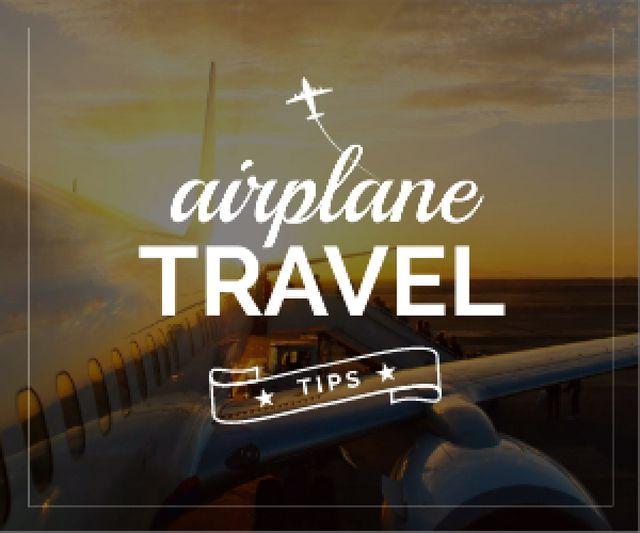 Airplane travel tips poster Medium Rectangle Tasarım Şablonu