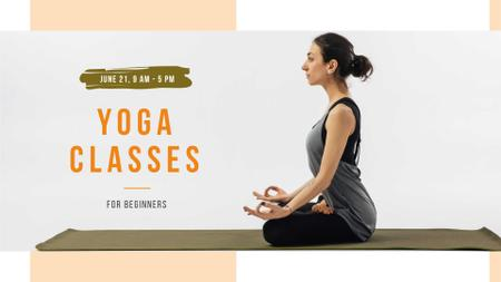 Yoga Classes Offer with Woman meditating FB event cover – шаблон для дизайна