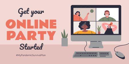 #MyPandemicSurvivalPlan People having Party Online Twitterデザインテンプレート