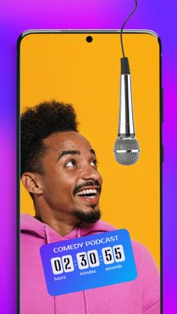 Ontwerpsjabloon van Instagram Story van Podcast Topic Announcement with Man and Microphone