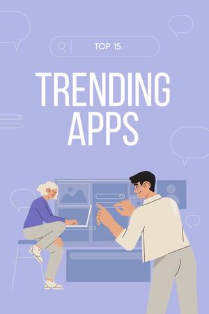 Ontwerpsjabloon van Pinterest van Trending Apps review with business Team