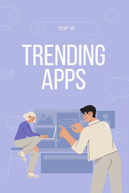 Designvorlage Trending Apps review with business Team für Pinterest