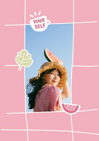 Mental Health Inspiration with Girl holding Watermelon Poster – шаблон для дизайну