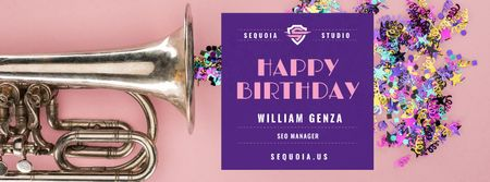 Birthday Greeting Confetti and Trumpet Facebook cover – шаблон для дизайну