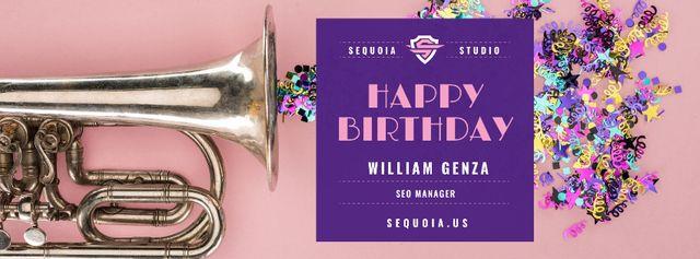 Birthday Greeting Confetti and Trumpet Facebook cover – шаблон для дизайну