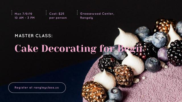 Template di design Confectionery Workshop Ad Cake with raw Berries FB event cover