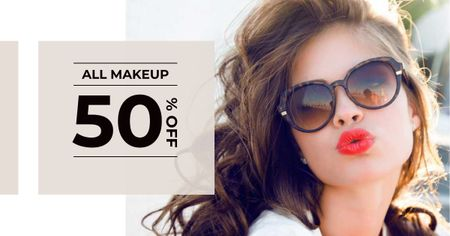 Makeup Offer with Beautiful Young Woman Facebook AD Modelo de Design