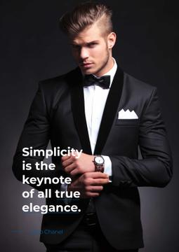 Elegance Quote with Man in Formal Wear
