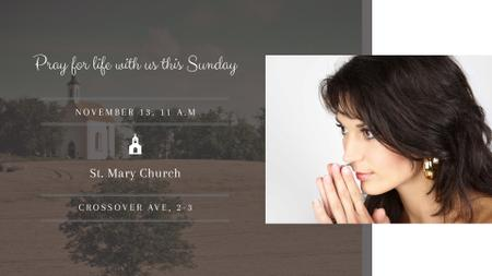 Church invitation with Woman Praying FB event coverデザインテンプレート