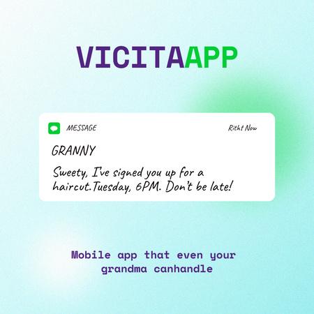 Ontwerpsjabloon van Instagram van Funny Mobile App Ad with Message on Screen
