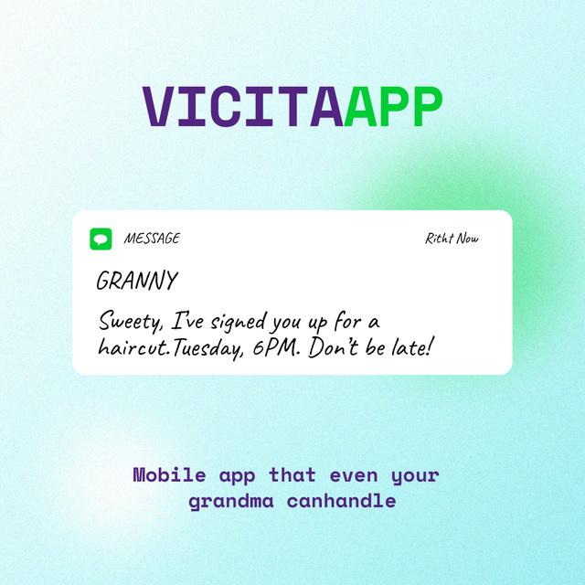Modèle de visuel Funny Mobile App Ad with Message on Screen - Instagram