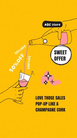 Platilla de diseño Champagne is pouring into Glass Instagram Video Story