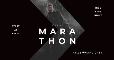 Plantilla de diseño de Marathon Movie with Actor under Rain Facebook AD