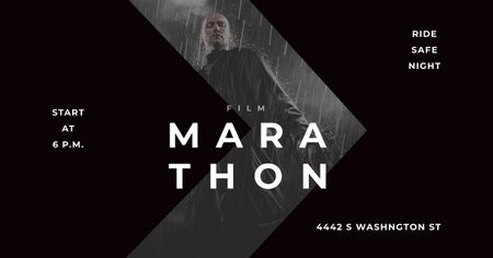 Template di design Marathon Movie with Actor under Rain Facebook AD