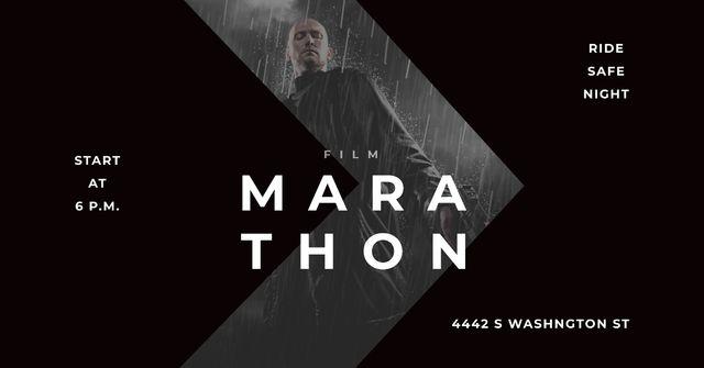 Marathon Movie with Actor under Rain Facebook AD Tasarım Şablonu