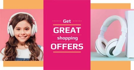 Electronics Offer with Cute Girl in Headphones Facebook AD Modelo de Design