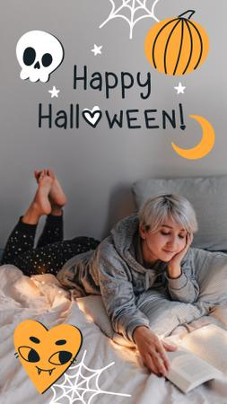 Halloween Holiday Greeting with Girl reading in Bed Instagram Video Story Design Template