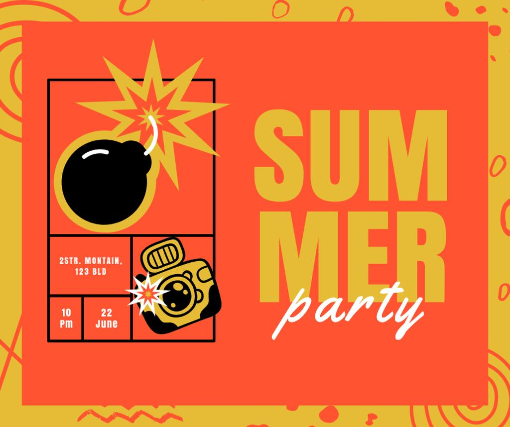 Summer Party Announcement with Bomb and Camera Facebook Design Template