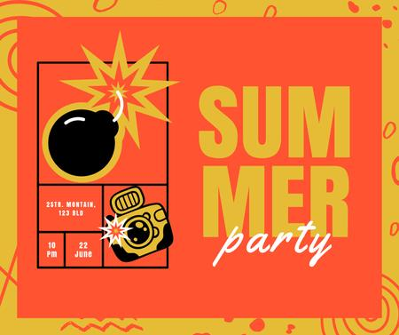Summer Party Announcement with Bomb and Camera Facebook – шаблон для дизайна
