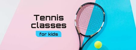 Template di design Tennis Classes for Kids Offer with Racket on Court Facebook cover