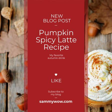 Pumpkin spice latte recipe Instagram AD – шаблон для дизайну