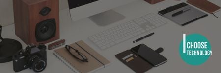 Gadgets on Table Email header Design Template