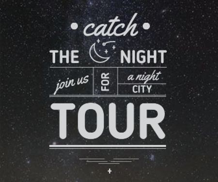Ontwerpsjabloon van Large Rectangle van night city tour banner