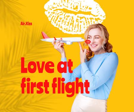 Funny Illustration of Plane kissing Woman Facebook – шаблон для дизайна
