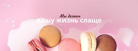 Bakery ad with Macaron cookies Facebook cover – шаблон для дизайна