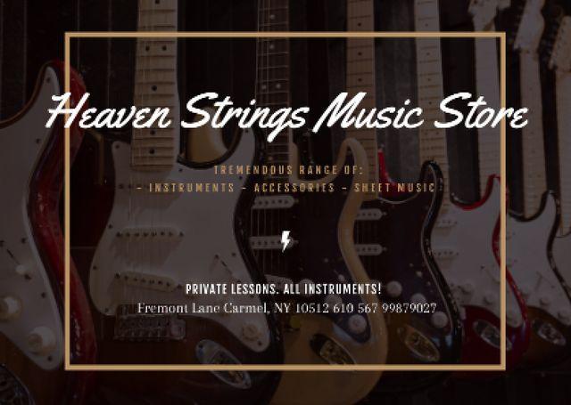 Template di design Guitars in Music Store Postcard