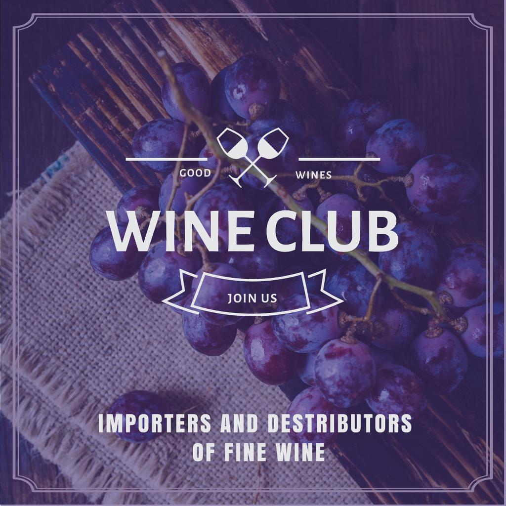 Wine club Invitation with fresh grapes — Crear un diseño